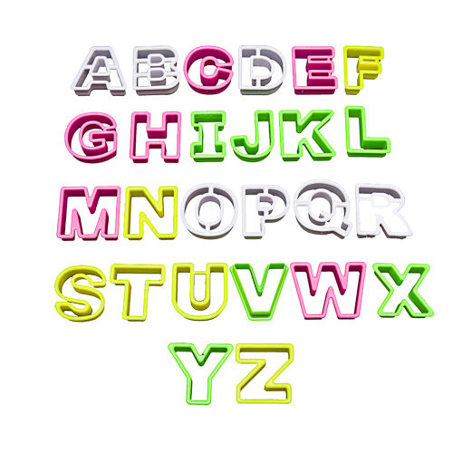 26 Piece Plastic Biscuit Pastry Cookie Cutter Alphabet Assorted Letters Set