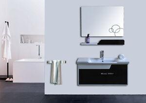 Mobile arredo bagno completo pensile 90cm bianco nero lavabo