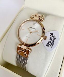Anne Klein Watch * 3003SVRT Diamond 2 Tone Rose Gold & Silver Steel Mesh Women