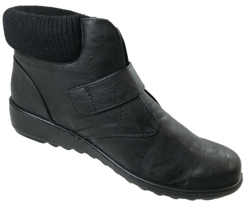 Cushion Walk Ladies Black Comfort Low  Wedge Heels Zip Faux Fur Boots