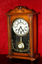Vintage Swiss Art Deco Oak Case 'Star' Mantel Clock with Original Key