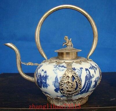 Collectible Handmade Silver & Porcelain Inlaid Teapot Blue And White Art Deco Ideal Gift For All Occasions