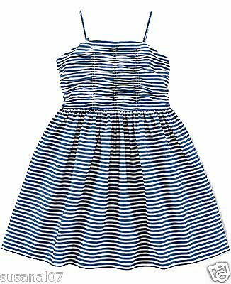 NWT Ralph Lauren Polo Girls Twill Fit and Flare Striped Sleeveless Dress 5