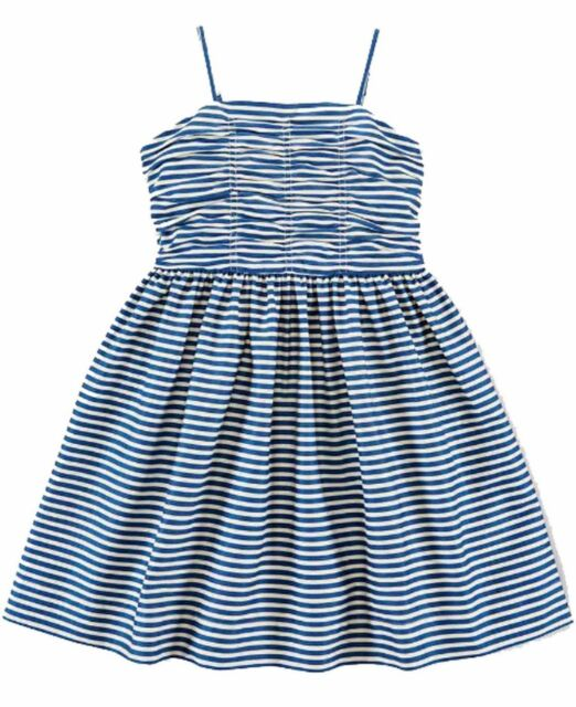 Ralph Lauren Girls Twill Fit and Flare Striped Sleeveless Dress