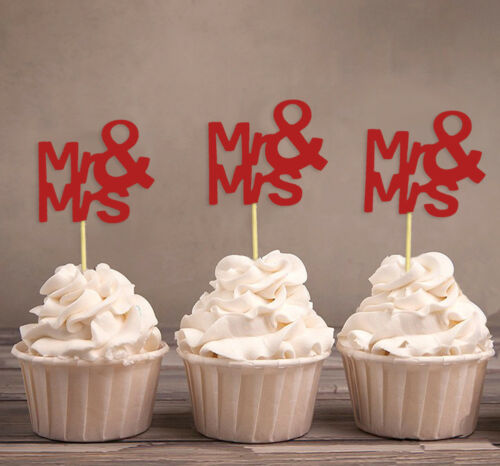 Mr /& Mrs Wedding Cupcake Toppers,Party Dessert Decorations-Pack Of 20-DSCCT-36A