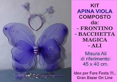 Affidabile Apina Farfalla Kit Viola Ali In Tessuto Con Elastico Frontino Bacchetta Magica Morbido E Leggero