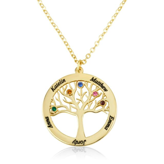 Tree Of Life With Birthstoned Necklace Tree Pendant Personalized Family Names