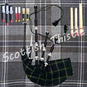 SCOTTISH BAGPIPE BLACK COLOR HALF SET WITH TUTOR BOOK//DUDELSACK//GAITA//Cornemuse