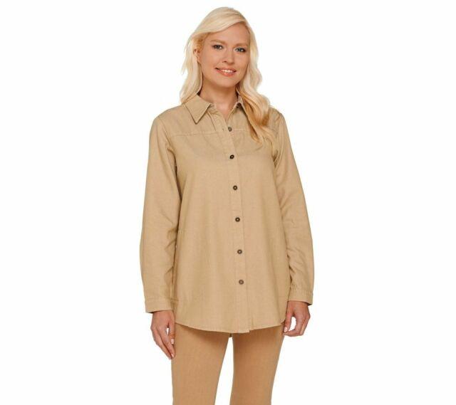 Women's Joan Rivers Classic Denim Boyfriend Shirt with Pockets X-Small