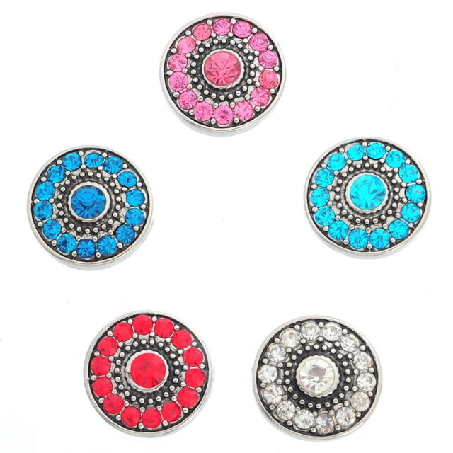 5PCs Chunk DIY Snap Button Fit Charms Bracelet Crystal Round Flower 19mm
