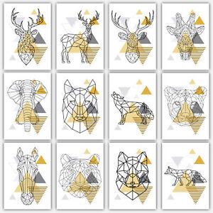 906ae830604 Image is loading GEOMETRIC-Art-PRINT-Yellow-amp-Grey-ANIMAL-collection-