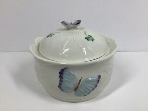 Belleek-Shamrock-Butterfly-Covered-Dish-Brown-Mark