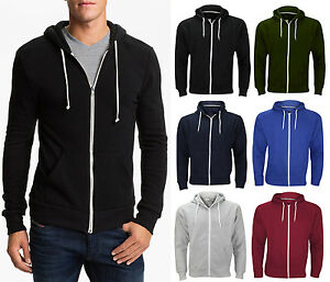 NEU-einfarbig-Herren-Kapuzenpullover-Fleece-Reissverschluss-Jacke-oben