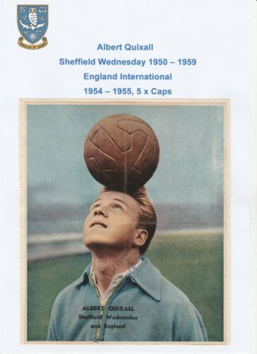 ALBERT QUIXALL SHEFFIELD WEDNESDAY 19501959 ORIGINAL SIGNED MAGAZINE CUTTING