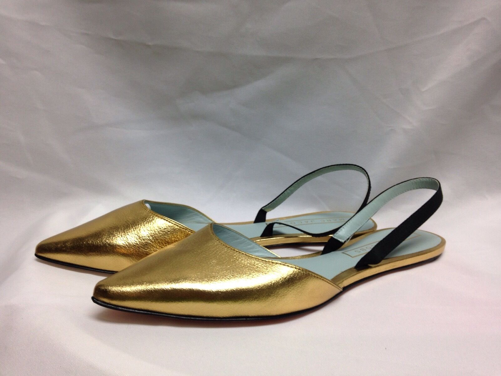 Marc Jacobs Joline Slingback Flats Gold M9000788  New w/ Box