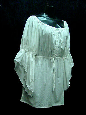 New 50s Style White Peasant Blouse with Poodle /_ Adult Size LARGE