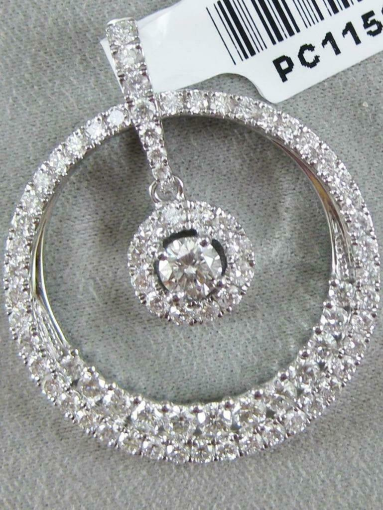 MODERN 1.39CTW PAVE DIAMOND 18K gold ROUND HANGING CIRCLE HALO PENDANT  PC11598W