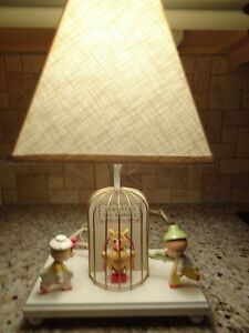Details About 1960 S Nursery Plastics Co Wooden Lamp W Shade Boy Or Animals