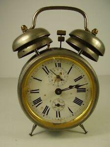 Antiker-seltener-Junghans-Doppel-Glocken-Wecker-vor-1945