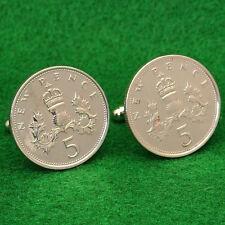 Scottish Thistle Coin Cufflinks, 5 New Pence QE2 Great Britain UK