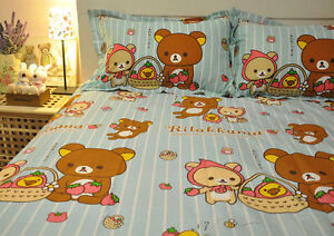 Image Is Loading RILAKKUMA Bear BLUE STRIP QUEEN SIZE DOUBLE BED