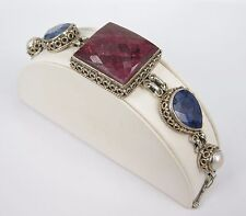 Vintage Sterling Silver Ruby Sapphire Agate Pearl Chunky Toggle Bracelet