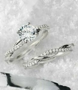 Details about  /1.80 CT Round Cut Diamond Wedding Bridal Surprise Ring in 14k White Gold Finish