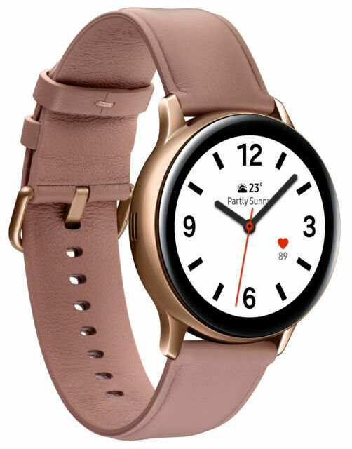 Samsung Galaxy Watch Active 2 Sm R835 40mm Gold Tone Stainless Steel Case With Pink Leather Strap Smartwatch Lte For Sale Online Ebay
