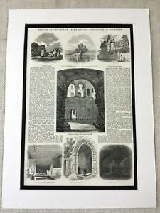 1853-Print-British-Archaeological-Society-Rochester-Landscape-Victorian-Antique