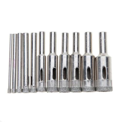 10pcs 3mm-14mm Diamond Tool Drill Bit Hole Saw Set for Glass Ceramic Marble Tile