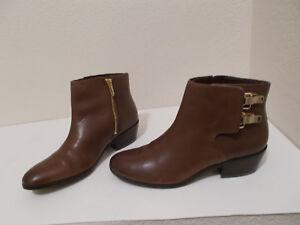SAM-EDELMAN-BROWN-ANKLE-BOOTS-BOOTIES-SIDE-ZIP-BUCKLES-WOMEN-039-S-SIZE-7-7-5