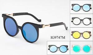 Round-Sunglasses-Flat-Lens-Flash-Mirror-Lens-Metal-Temples-Designer-Inspired-UV