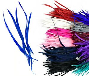 Long-Fascinator-Feathers-Stripped-Goose-Biot-Millinery-Hats-Trimmings-Coloured