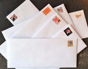 "50 Forever Stamped Envelopes - #10 White Woved Security 4 1/8"" X 9 1/2"" Gummed"