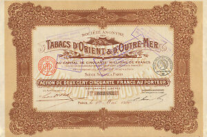 SA-des-Tabacs-d-Orient-amp-d-Outre-Mer-accion-Paris-1920