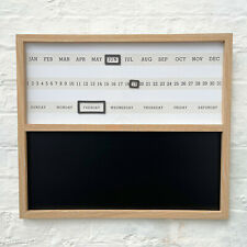 Retro Wall Mounted Day Month Year Date Calendar Memo Planner Magnetic Chalkboard