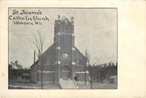 St-Jerome-039-s-Catholic-Church-Wonewoc-Wisconsin-1908-Vintage-Postcard