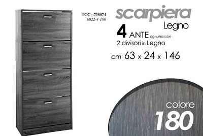 Promo Scarpiera Salvaspazio 4 Ante Slim Nera H146*63*24cm Nero Rovere Legno Tcc