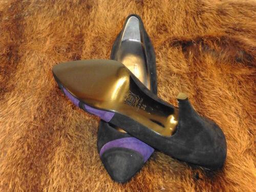 1980 Súper Negro Zapato T Ante 36 Nuevo Tacón De Violeta Y 5 Silvy Cuero Vintage vnvqarYw