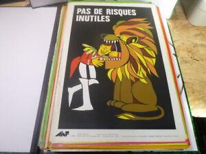Affiche-Serigraphie-Prevention-Securite-70-039-s-AINF-Dompteur-cirque-circus-RARE