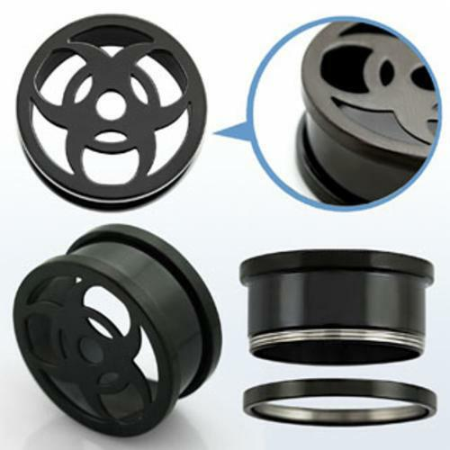 Pair Steel Black Hollow Bio Hazard Flesh Tunnel Ear Plugs Screw Fit 6mm -25mm US