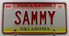"""USA Nummernschild aus Oklahoma Indian Tribe Ponca Nation Vanity """"SAMMY"""". 8042."""