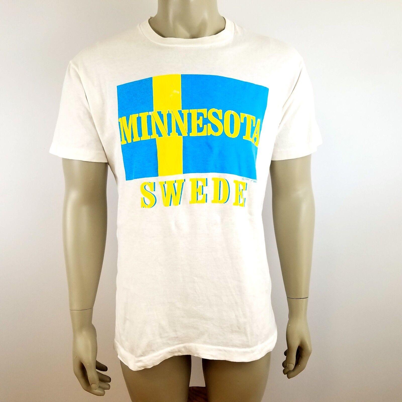 VTG 80's Minnesota Swede Unisex Size Large Single Stitch T-Shirt Distressed USA
