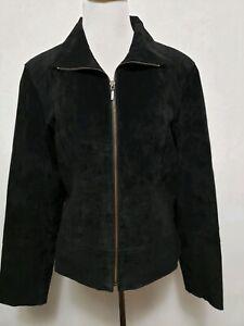 Uniform John Paul Richard Women's Sz Large  Leather Lined Jacket Black SUEDE