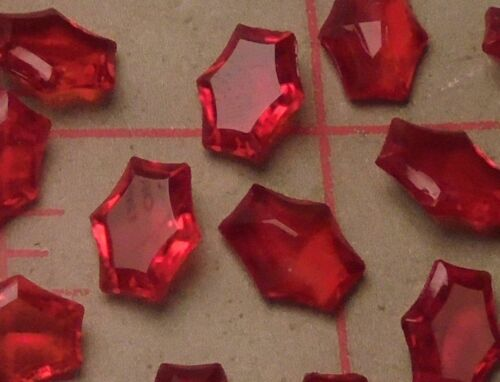 12 Vintage Cherry Red Faceted Hexagon Glass Embellishments Pointback 10mm