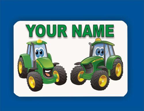 PERSONALISED BOYS TRACTOR GREEN TRACTOR BEDROOM METAL DOOR SIGN PLAQUE YOUR TEXT