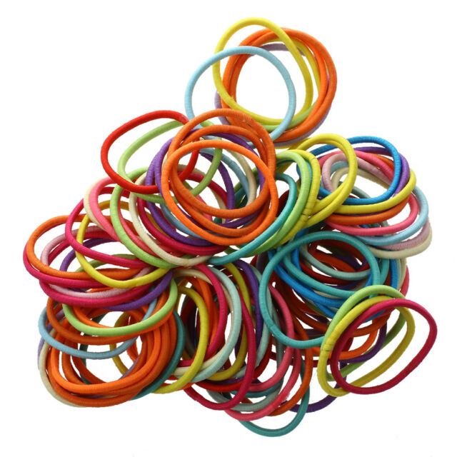 100pcs Mixed Colors Baby Girl Tiny Hair Bands Elastic Ties Ponytail Holder  M4S7 d818f95e8df
