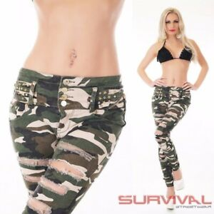 Womens-NEW-Camouflage-Skinny-Destroyed-Jeans-Ripped-Denim-Size-6-8-10-12-14