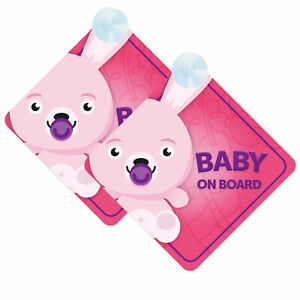 Baby-On-Board-Twin-Pack-of-Baby-Rabbit-Bunny-Design-Car-Signs-2pcs-Girl-Pink