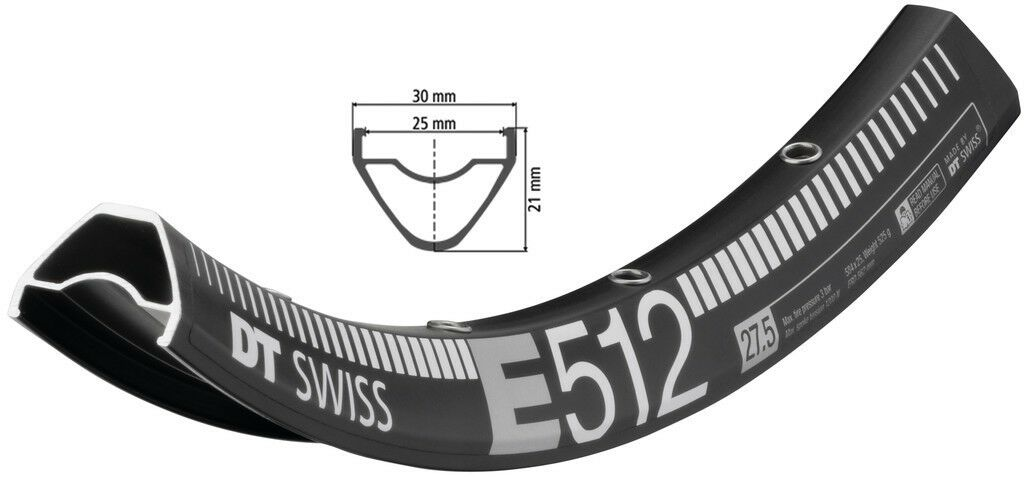 DT Swiss E 512 Fahrrad Felge Schwarz      584-25 (27 5″) Disc ee0bcf